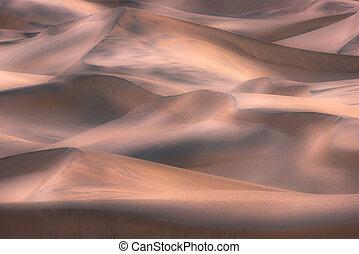 mort, dunes, national, incandescent, parc, sable, vallée, ca