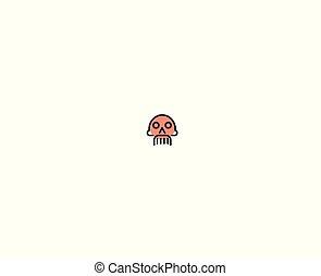 mort, illustration., crâne, danger, -, symbole, conception, logo, signe, icône