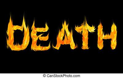mort, lettres, brûler, écrit, fait, mot