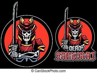 mort, mascotte, samouraï