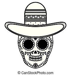 Mort Mexicain Crâne Tequila Masque Bouteille Mort