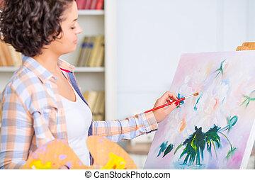 mort., mujer, pintura, joven, naturaleza