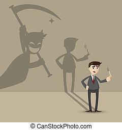 mort, mur, homme affaires, fumer, ombre, dessin animé