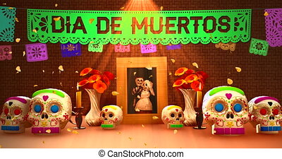 mort, offrande, lettrage, jour, mexicain, image, ofrenda, ...