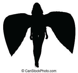 mort, silhouette, ange