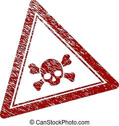mort, triangle, détresse, crâne, timbre, textured, cachet