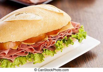 Mortadela sandwich, on a wooden table.