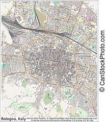 mortadella, italien, stadtlandkarte