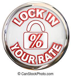 mortage, cerradura, botón, porcentaje, su, tasa, interés, ...