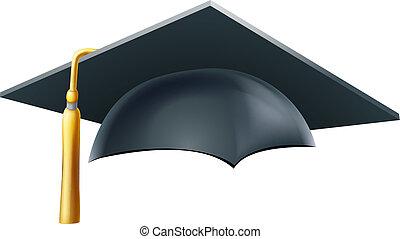mortaio, berretto, graduazione, asse, cappello, o