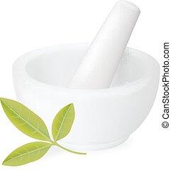 mortaio, bianco, ceramica, guarigione, erbe