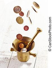 mortaio, monete cadenti, euro, pestello