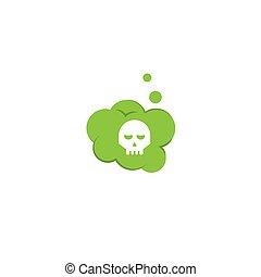 mortal, vector, tóxico, ilustración, gas.