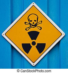 mortale, avvertimento, radiazione, segno