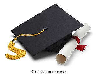 Mortar and Degree - Black Graduation Cap with Degree...