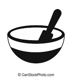 Mortar and pestle black simple icon isolated on white...