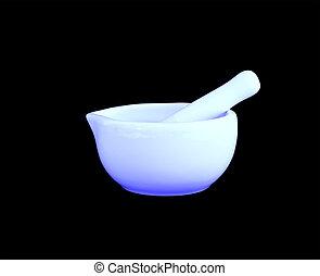 mortar and pestle, ceramic