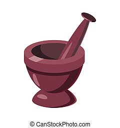 Mortar and pestle icon, cartoon style
