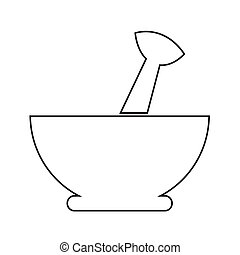 Mortar and pestle icon Illustration design