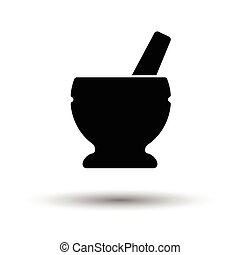 Mortar and pestle icon. White background with shadow design....