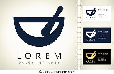 mortar and pestle logo vector