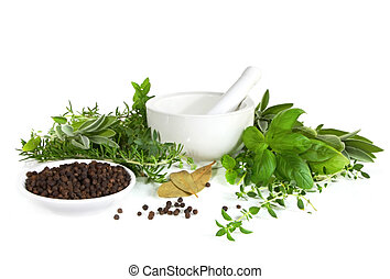 Mortar and Pestle - Mortar and pestle with fresh herbs and...