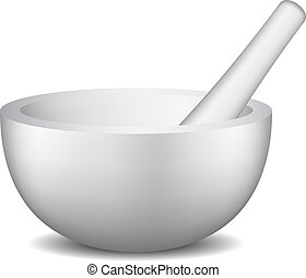 Mortar and pestle set on white background