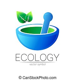 Mortar and pestle vector symbol. Logo of nature herb illustration. Concept for ecology, eco, organic, medicine and herb therapy product. Alternative medical logotype. Blue bowl and green leaf