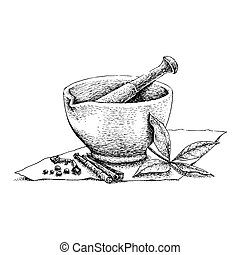 Mortar and Pestle vintage line drawing