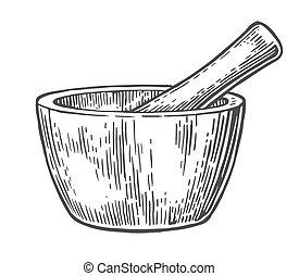 Mortar and Pestle. Vintage vector engraved illustration. -...
