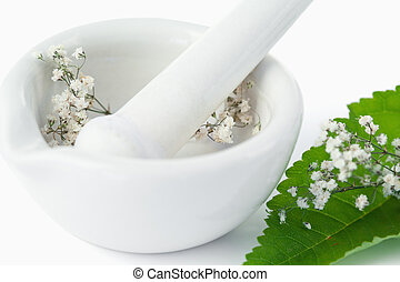Mortar and pestle with flowers and leaf