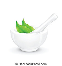 Mortar and Pestle with Herb - illustration of mortar and...
