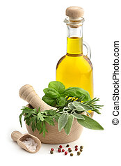 mortar and pestle with herbs, spices and olive oil