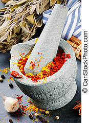 Mortar and pestle with mix of colorful spices
