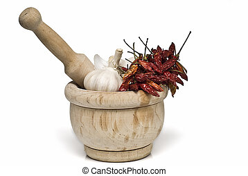 Mortar and pestle with spices.