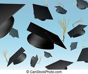 Mortar Board chuck - Illustration of mortar boards being...