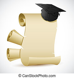 Mortar Board on Certificate - illustration of mortar board...