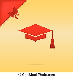 Mortar Board or Graduation Cap, Education symbol. Cristmas design red icon on gold background.