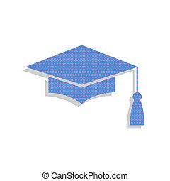 Mortar Board or Graduation Cap, Education symbol. Vector. Neon b