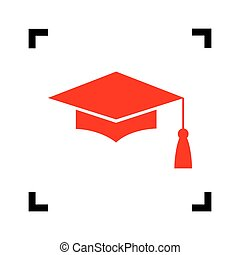Mortar Board or Graduation Cap, Education symbol. Vector. Red icon inside black focus corners on white background. Isolated.