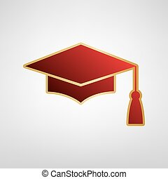 Mortar Board or Graduation Cap, Education symbol. Vector. Red icon on gold sticker at light gray background.
