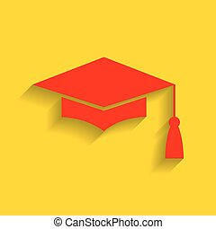 Mortar Board or Graduation Cap, Education symbol. Vector. Red icon with soft shadow on golden background.