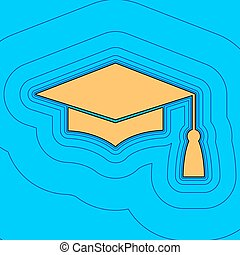Mortar Board or Graduation Cap, Education symbol. Vector. Sand color icon with black contour and equidistant blue contours like field at sky blue background. Like waves on map - island in ocean or sea.
