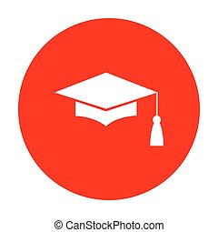 Mortar Board or Graduation Cap, Education symbol. White icon on red circle.