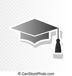 Mortar Board or Graduation Cap, Education symbol. Vector. New year blackish icon on transparent background with transition.