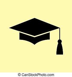Mortar Board or Graduation Cap, Education symbol. Flat style...