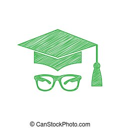 Mortar Board or Graduation Cap with glass. Green scribble Icon with solid contour on white background. Illustration.