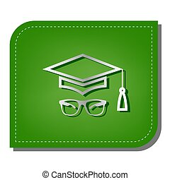Mortar Board or Graduation Cap with glass. Silver gradient line icon with dark green shadow at ecological patched green leaf. Illustration.