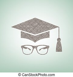 Mortar Board or Graduation Cap with glass. Vector. Brown flax icon on green background with light spot at the center.