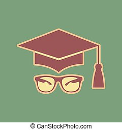 Mortar Board or Graduation Cap with glass. Vector. Cordovan icon